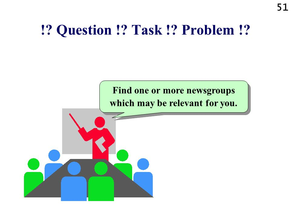 51 ! Question ! Task ! Problem ! Find one or more newsgroups which may be relevant for you.