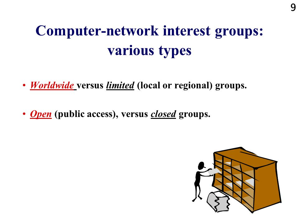 9 Computer-network interest groups: various types Worldwide versus limited (local or regional) groups.