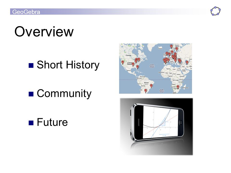 GeoGebra Overview Short History Community Future