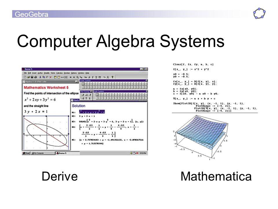 GeoGebra Computer Algebra Systems Derive Mathematica