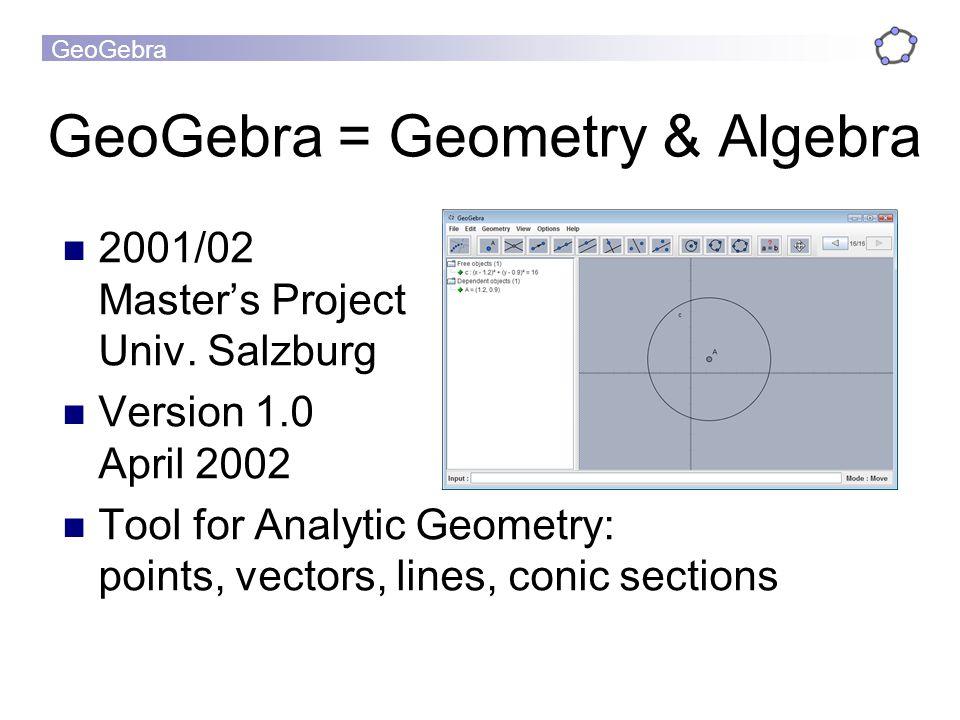 GeoGebra GeoGebra = Geometry & Algebra 2001/02 Masters Project Univ.