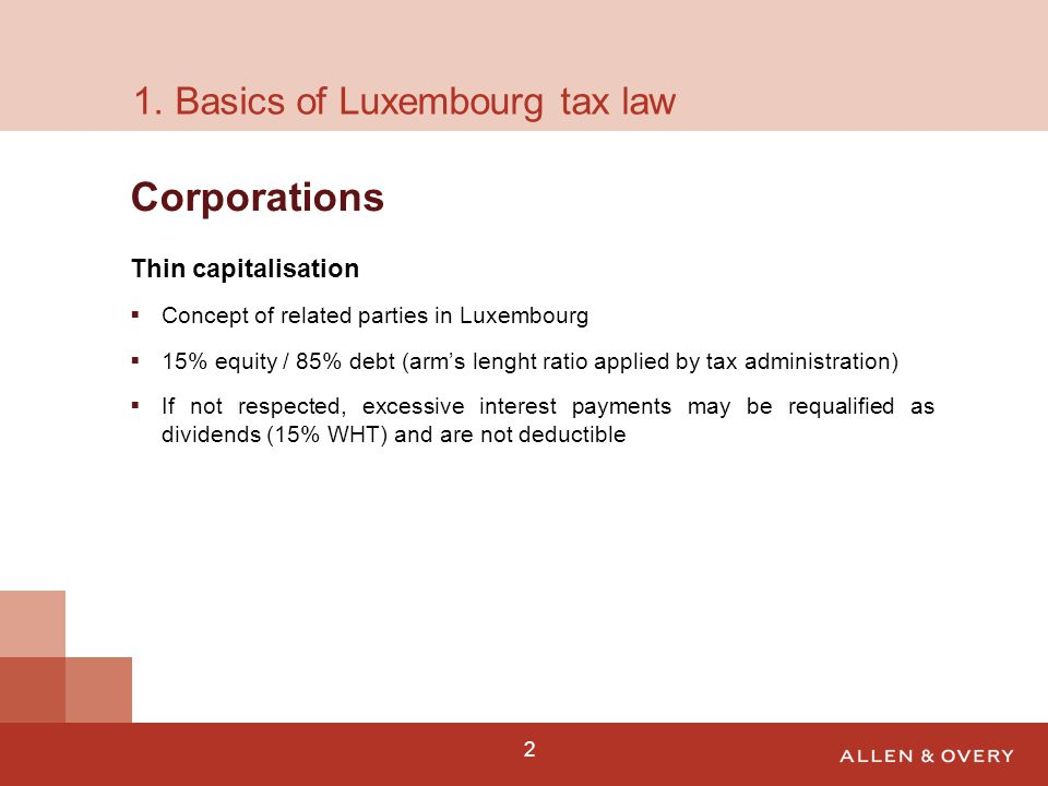 3 85/15 structure Adapted to Luxembourg thin cap requirements 85% interest bearing loans 15% equity / interest free loans No WHT on interest payments 15% WHT on dividends (may be reduced under applicable DTC) Suitable when low annual returns Lux HoldCo Investor Target 15% Equity & IFL 85% IBL DividendsInterest 2.