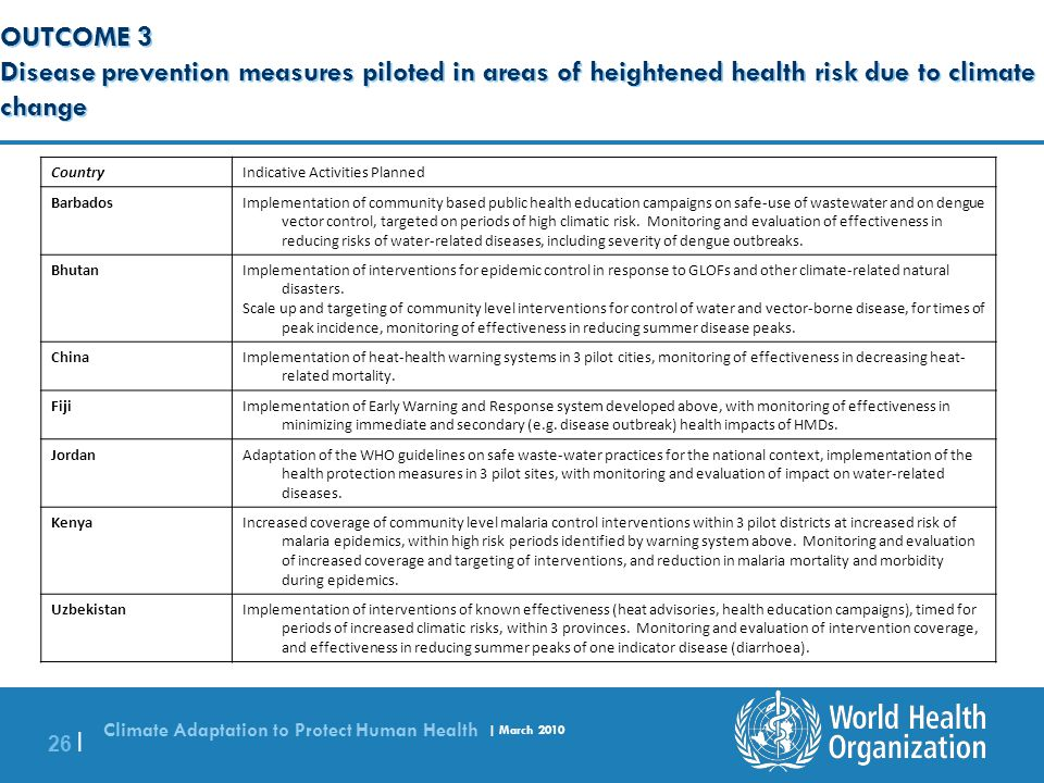 Climate Adaptation to Protect Human Health | March 2010 26 | OUTCOME 3 Disease prevention measures piloted in areas of heightened health risk due to c