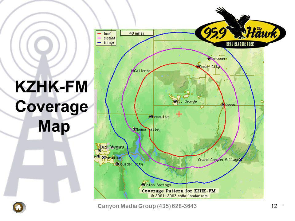 Canyon Media Group (435) 628-364312 KZHK-FM Coverage Map
