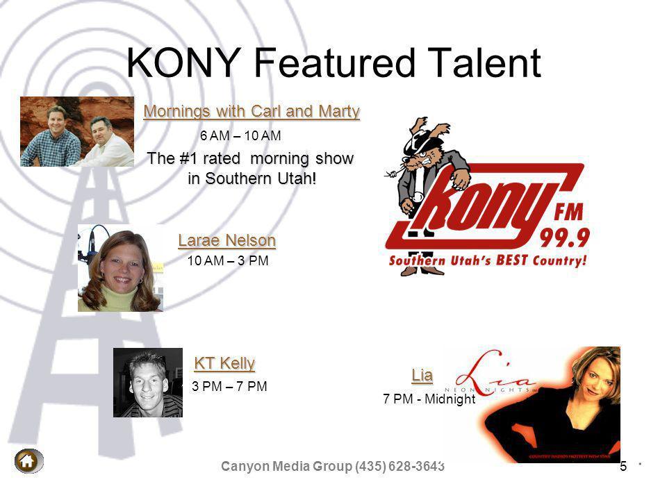 Canyon Media Group (435) 628-36436 KONY-FM Coverage map