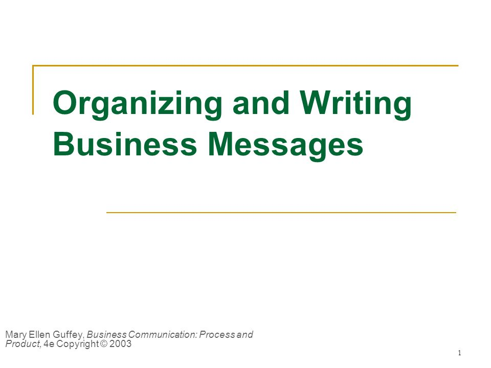 1 Organizing and Writing Business Messages Mary Ellen Guffey, Business Communication: Process and Product, 4e Copyright © 2003