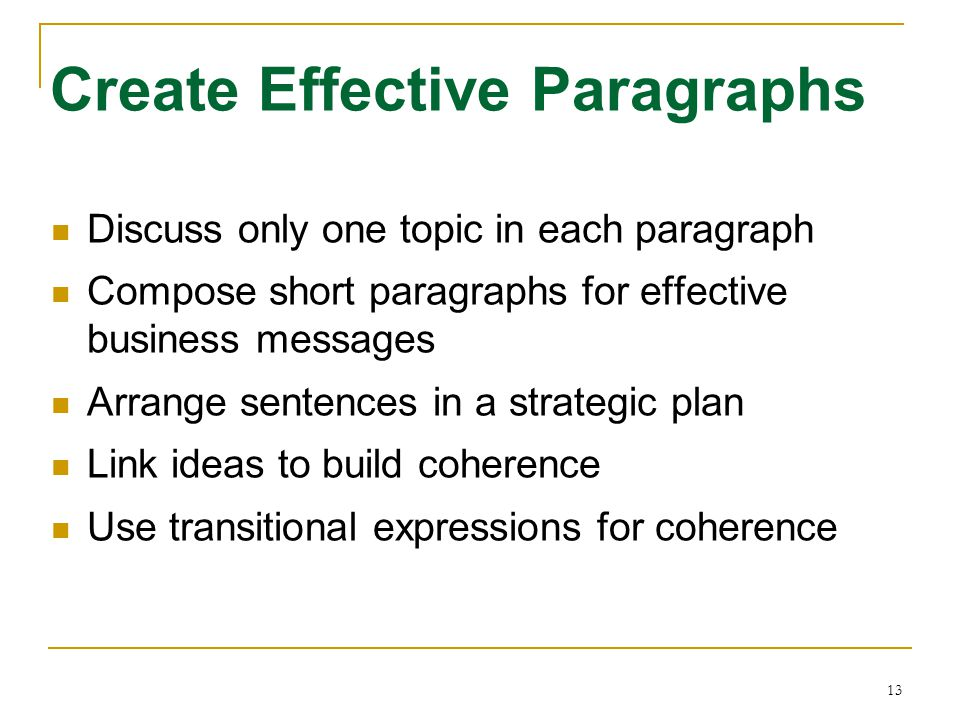 13 Discuss only one topic in each paragraph Compose short paragraphs for effective business messages Arrange sentences in a strategic plan Link ideas