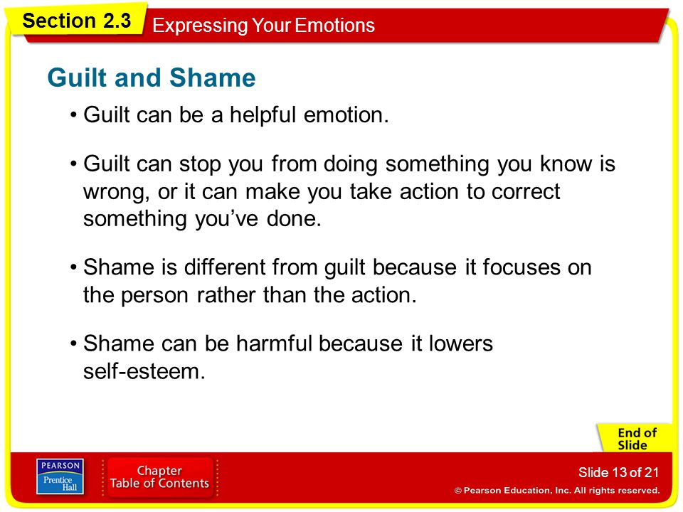 Section 2.3 Expressing Your Emotions Slide 13 of 21 Guilt can be a helpful emotion. Guilt and Shame Guilt can stop you from doing something you know i