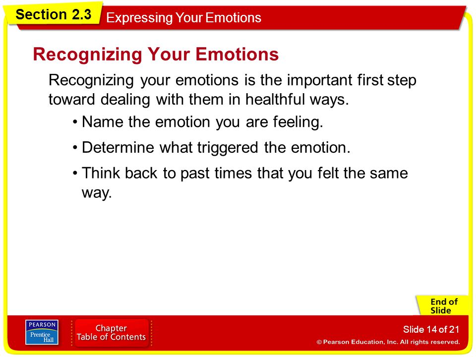 Section 2.3 Expressing Your Emotions Slide 14 of 21 Recognizing your emotions is the important first step toward dealing with them in healthful ways.