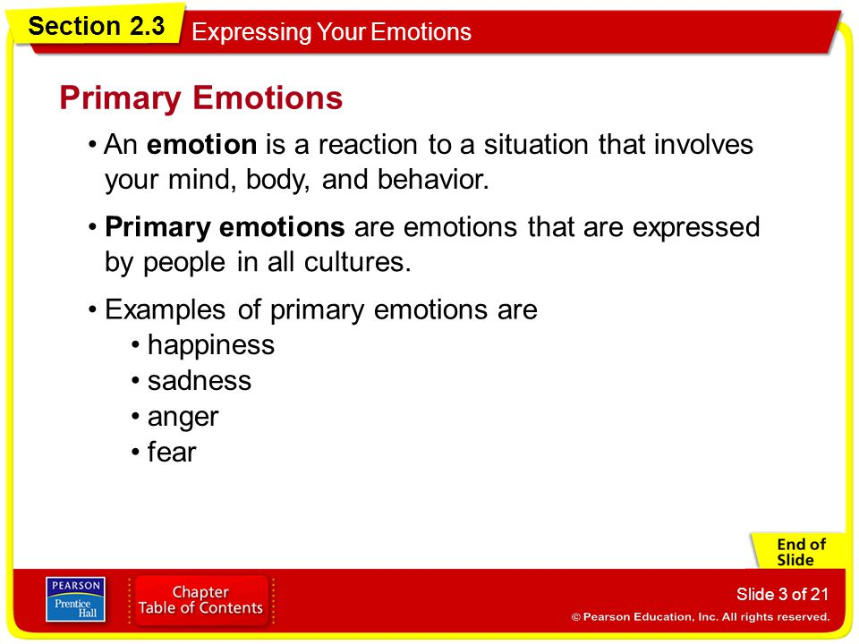 Section 2.3 Expressing Your Emotions Slide 4 of 21 Happiness is a normal response to pleasant events in ones life.