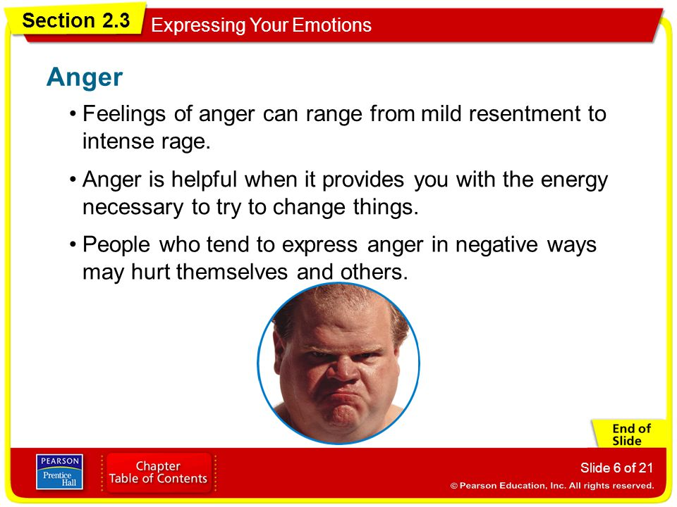 Section 2.3 Expressing Your Emotions Slide 6 of 21 Feelings of anger can range from mild resentment to intense rage. Anger Anger is helpful when it pr