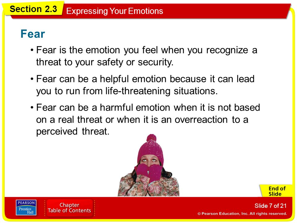 Section 2.3 Expressing Your Emotions Slide 7 of 21 Fear is the emotion you feel when you recognize a threat to your safety or security. Fear Fear can