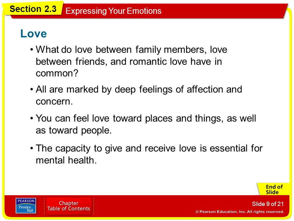 Section 2.3 Expressing Your Emotions Slide 9 of 21 What do love between family members, love between friends, and romantic love have in common? Love A
