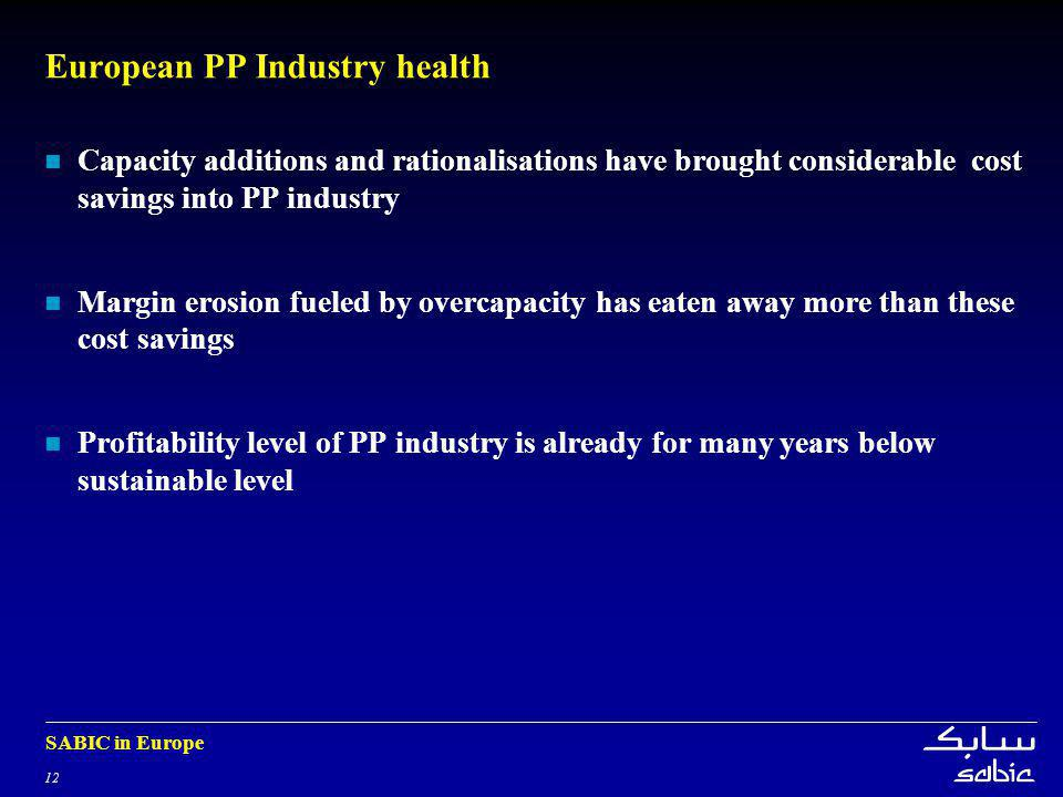 12 SABIC in Europe European PP Industry health Capacity additions and rationalisations have brought considerable cost savings into PP industry Margin erosion fueled by overcapacity has eaten away more than these cost savings Profitability level of PP industry is already for many years below sustainable level