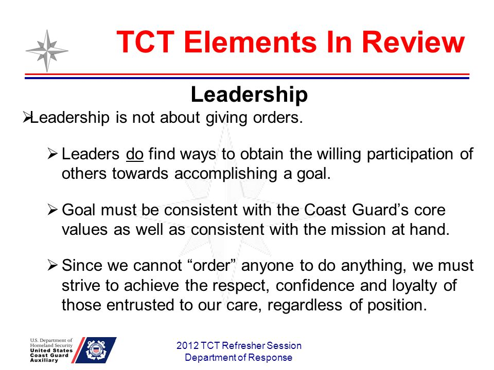 2012 TCT Refresher Session Department of Response Leadership Leadership is not about giving orders.