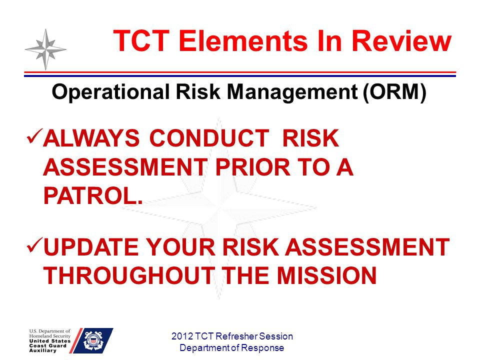 2012 TCT Refresher Session Department of Response Operational Risk Management (ORM) ALWAYS CONDUCT RISK ASSESSMENT PRIOR TO A PATROL.
