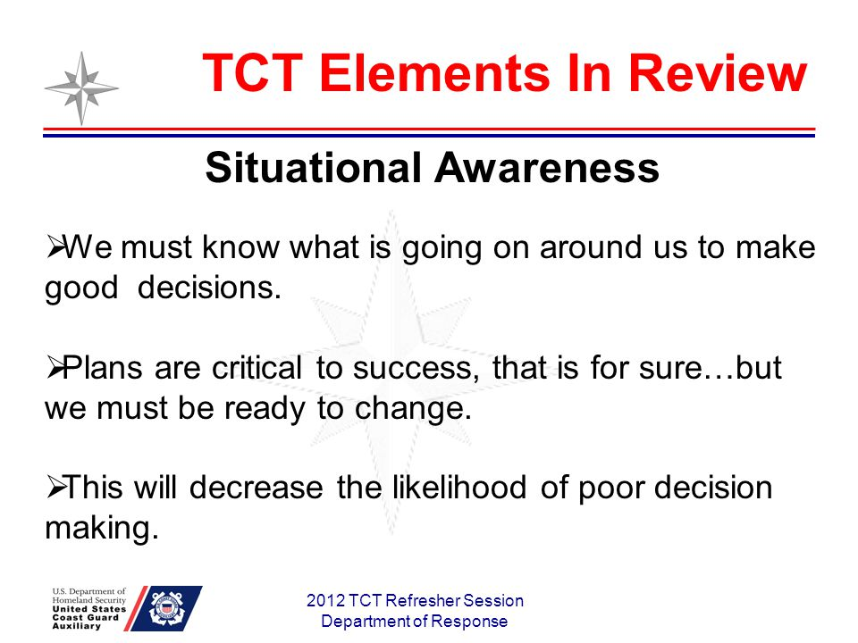 2012 TCT Refresher Session Department of Response Situational Awareness We must know what is going on around us to make good decisions.