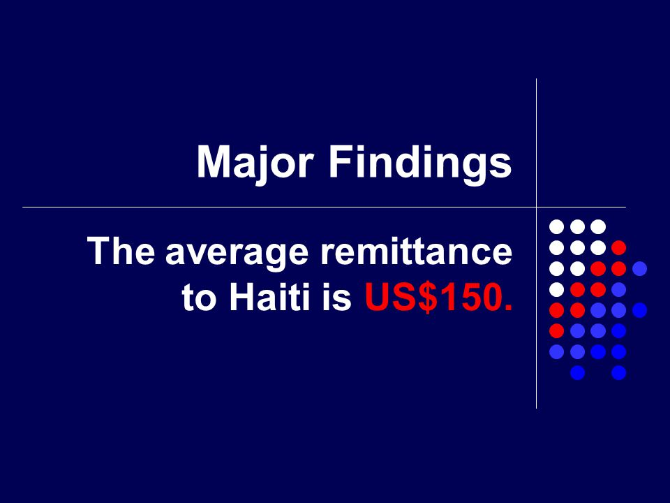 Major Findings The average remittance to Haiti is US$150.