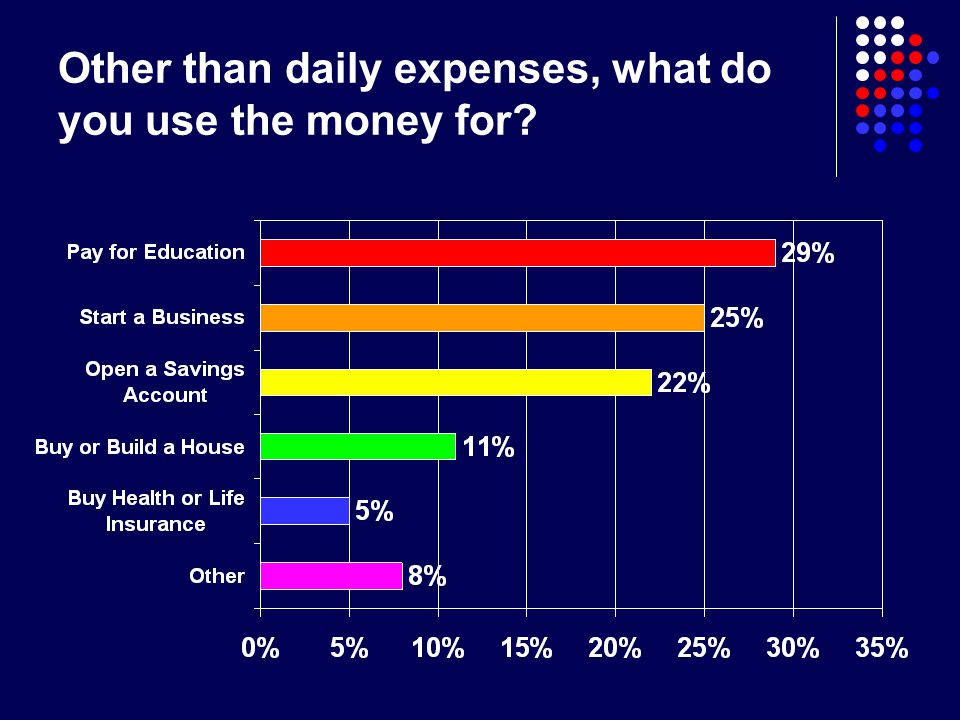 Other than daily expenses, what do you use the money for?