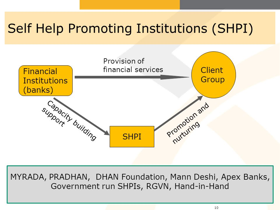 10 Self Help Promoting Institutions (SHPI) SHPI Client Group Financial Institutions (banks) Provision of financial services Promotion and nurturing Ca