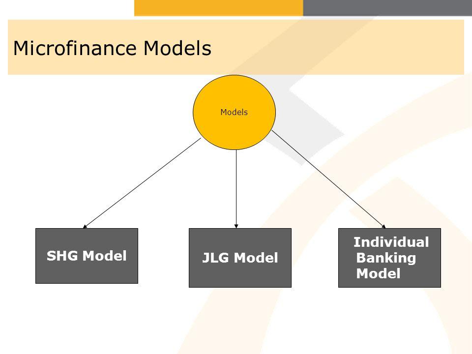 Microfinance Models Models SHG Model JLG Model Individual Banking Model