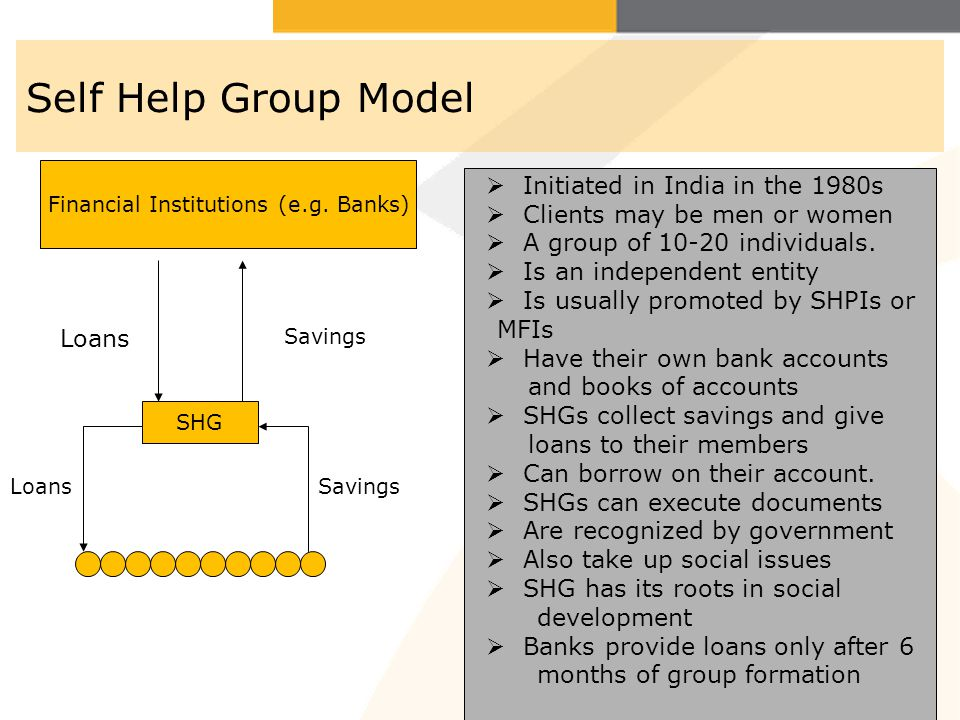 Self Help Group Model Loans SHG LoansSavings Financial Institutions (e.g. Banks) Savings Initiated in India in the 1980s Clients may be men or women A