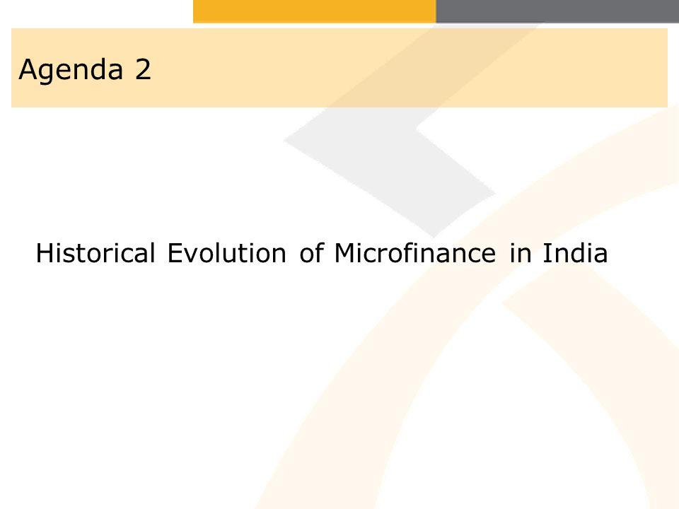 Agenda 2 Historical Evolution of Microfinance in India