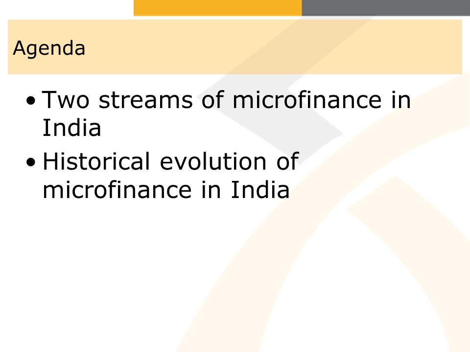 Agenda Two streams of microfinance in India Historical evolution of microfinance in India