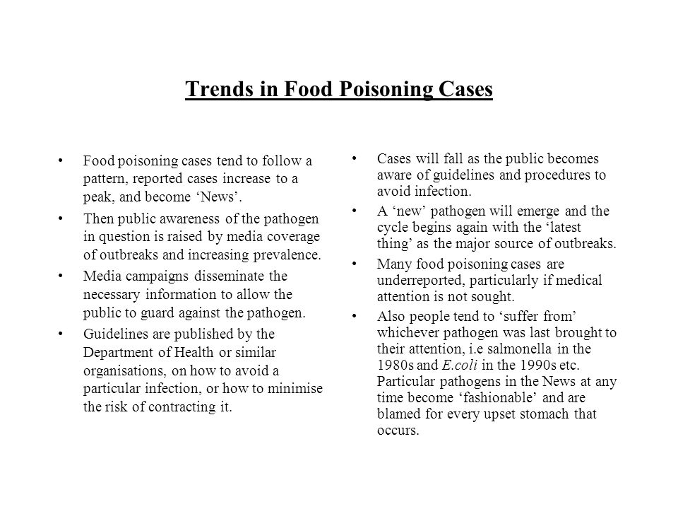 Trends in Food Poisoning Cases Food poisoning cases tend to follow a pattern, reported cases increase to a peak, and become News. Then public awarenes