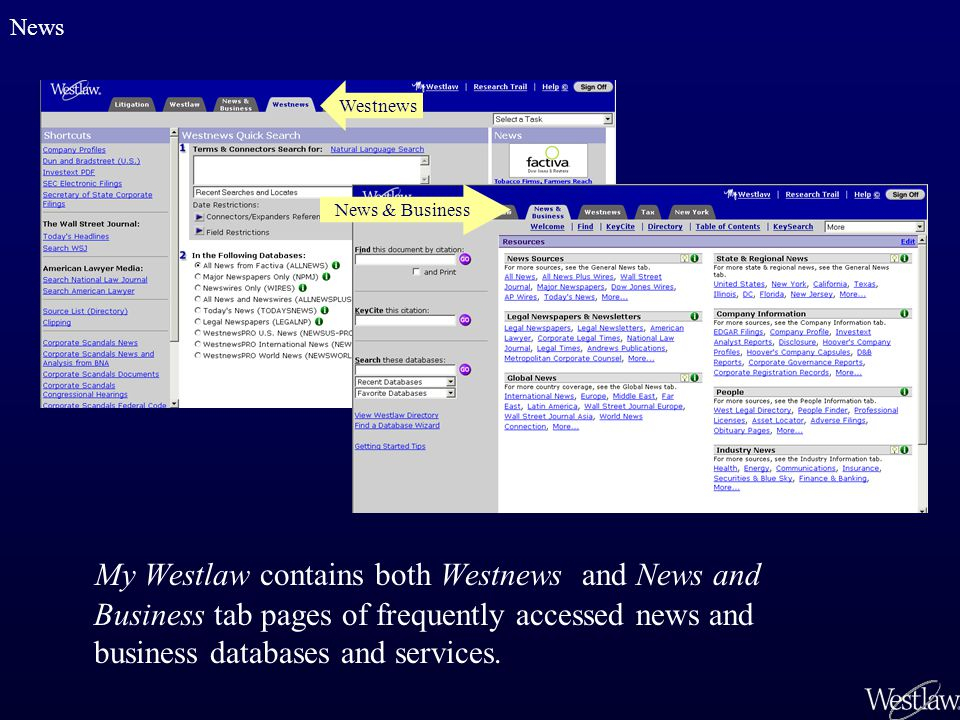 My Westlaw contains both Westnews and News and Business tab pages of frequently accessed news and business databases and services. News Westnews News