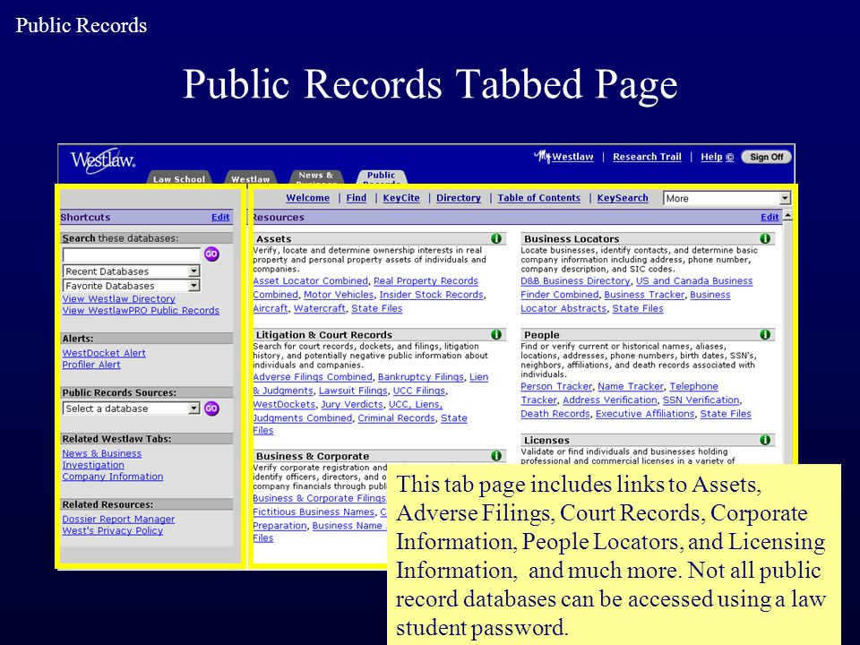 Public Records Tabbed Page This tab page includes links to Assets, Adverse Filings, Court Records, Corporate Information, People Locators, and Licensi