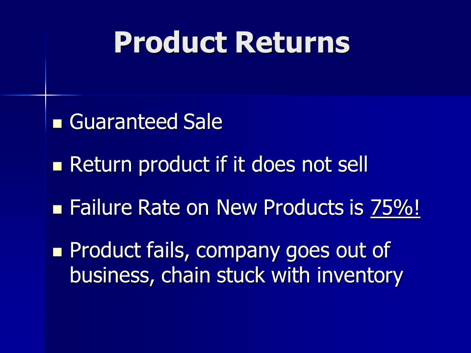 Product Returns Guaranteed Sale Guaranteed Sale Return product if it does not sell Return product if it does not sell Failure Rate on New Products is