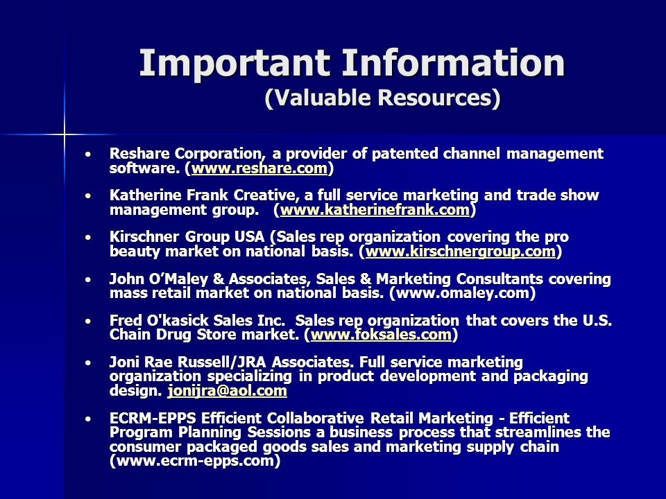 Important Information (Valuable Resources) Reshare Corporation, a provider of patented channel management software. (www.reshare.com)Reshare Corporati