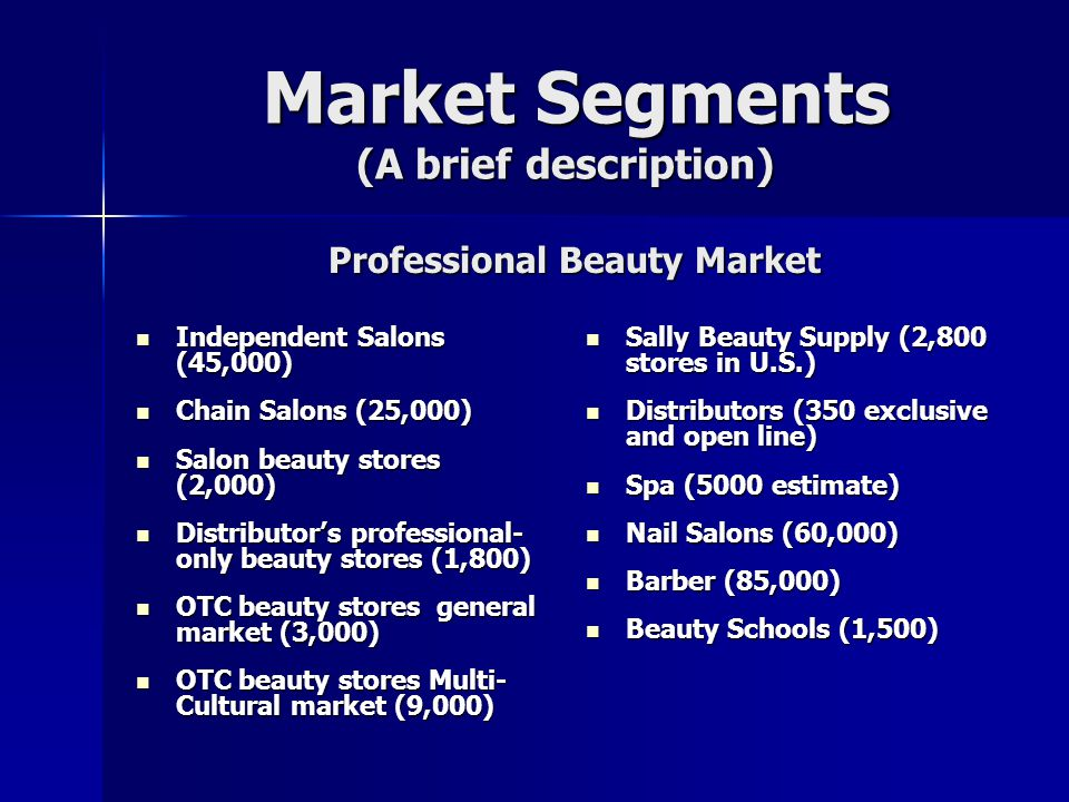 Market Segments (A brief description) Market Segments (A brief description) Independent Salons (45,000) Independent Salons (45,000) Chain Salons (25,0