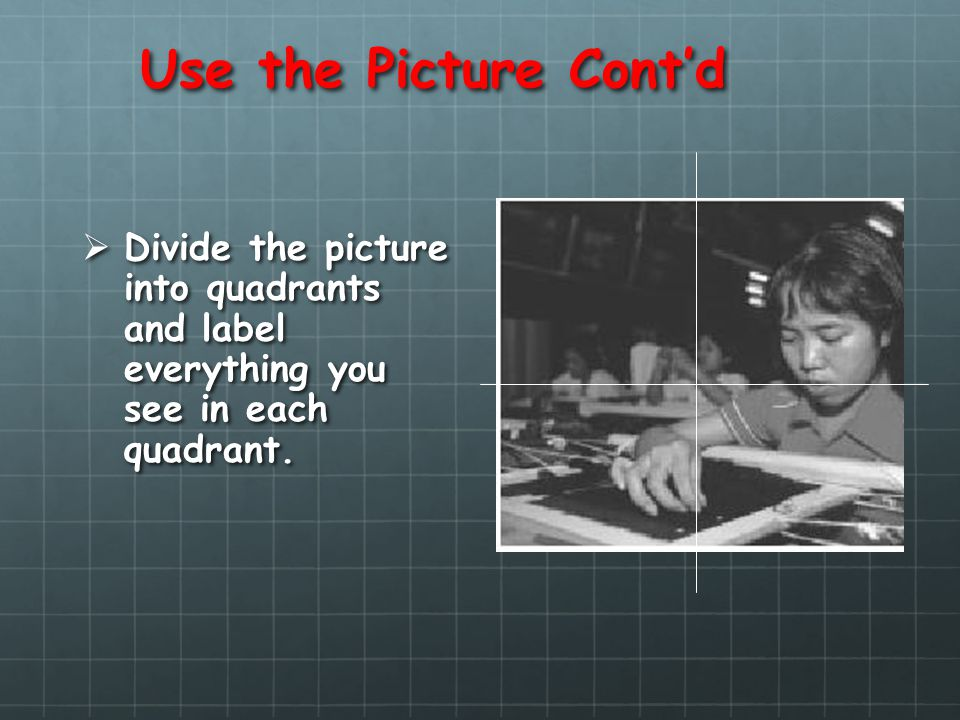 Use the Picture Contd Divide the picture into quadrants and label everything you see in each quadrant. Divide the picture into quadrants and label eve