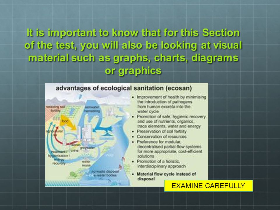 It is important to know that for this Section of the test, you will also be looking at visual material such as graphs, charts, diagrams or graphics EX