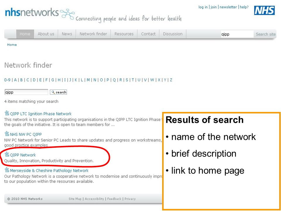 Results of search name of the network brief description link to home page