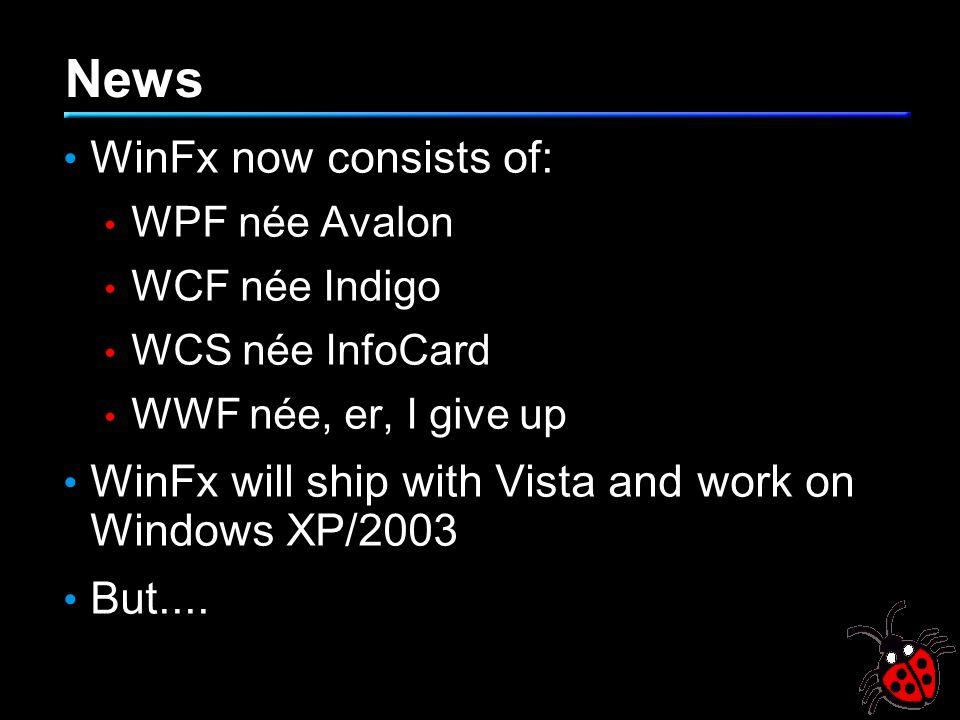 News WinFx now consists of: WPF née Avalon WCF née Indigo WCS née InfoCard WWF née, er, I give up WinFx will ship with Vista and work on Windows XP/2003 But....