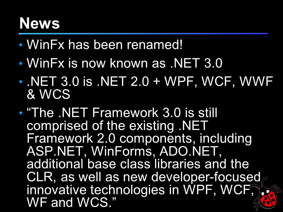 News WinFx has been renamed.