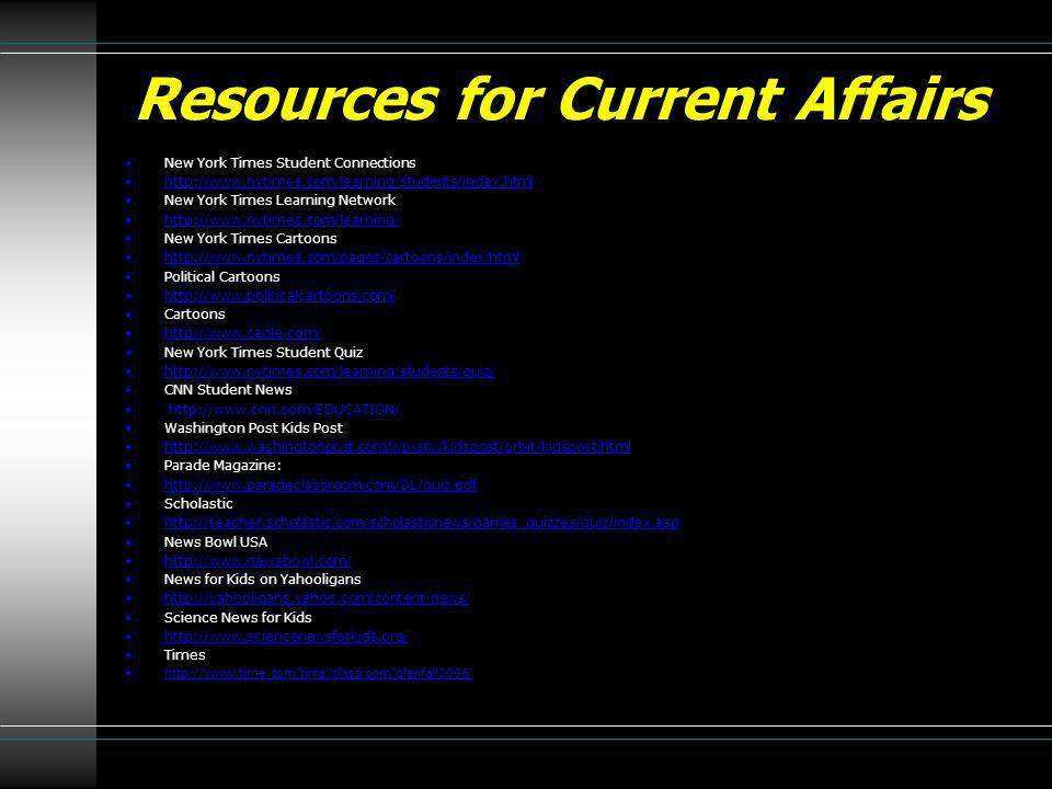 Resources for Current Affairs New York Times Student Connections http://www.nytimes.com/learning/students/index.html New York Times Learning Network h