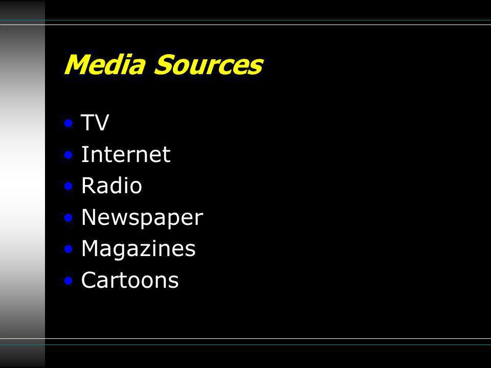 Media Sources TV Internet Radio Newspaper Magazines Cartoons