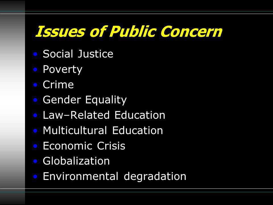 Issues of Public Concern Social Justice Poverty Crime Gender Equality Law–Related Education Multicultural Education Economic Crisis Globalization Envi