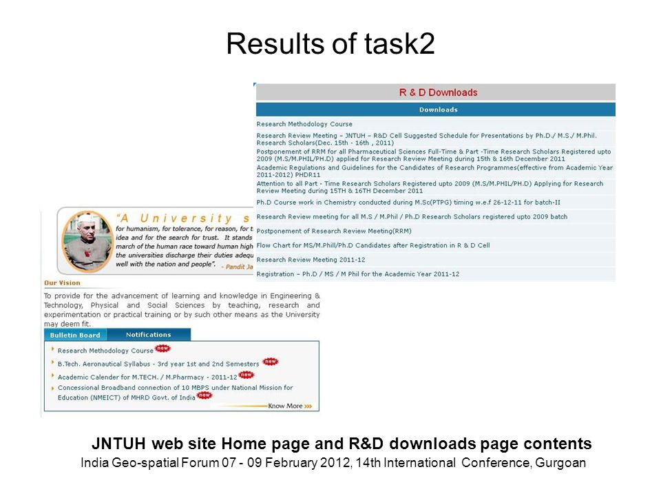 Results of task2 JNTUH web site Home page and R&D downloads page contents India Geo-spatial Forum 07 - 09 February 2012, 14th International Conference