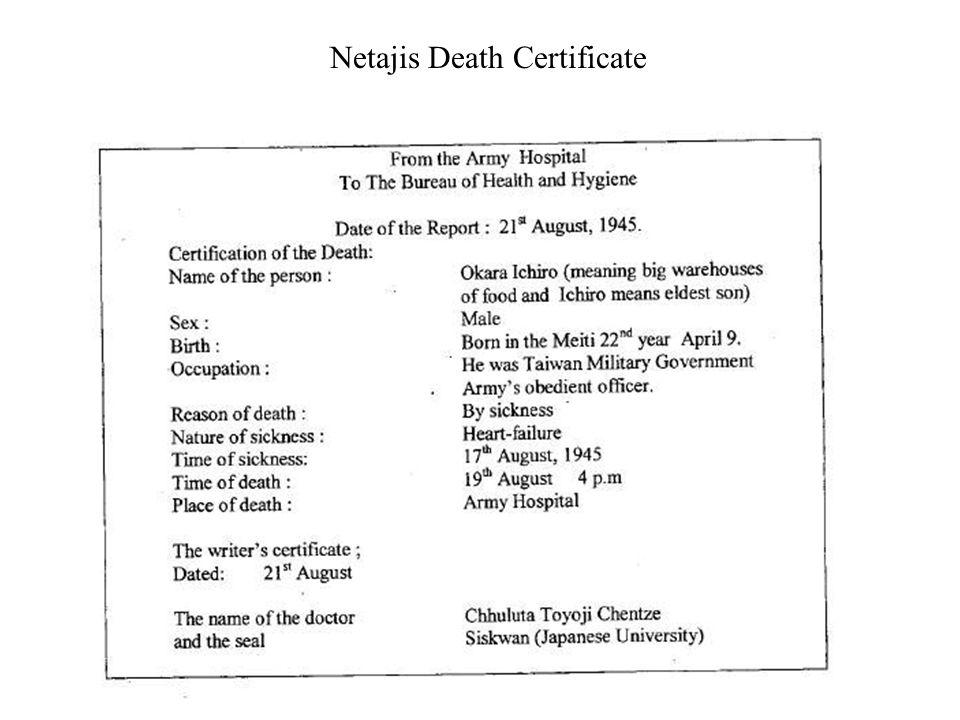 Netajis Death Certificate