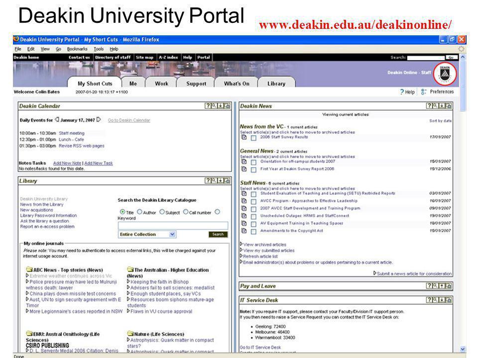 Deakin University Portal www.deakin.edu.au/deakinonline/