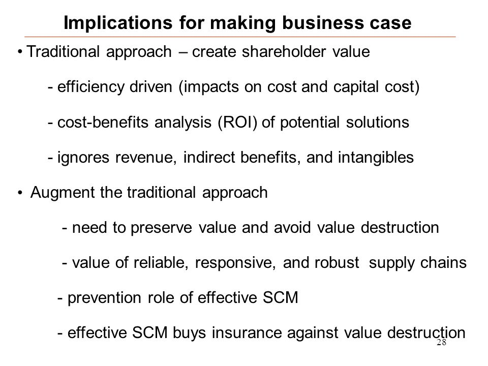 28 Traditional approach – create shareholder value - efficiency driven (impacts on cost and capital cost) - cost-benefits analysis (ROI) of potential