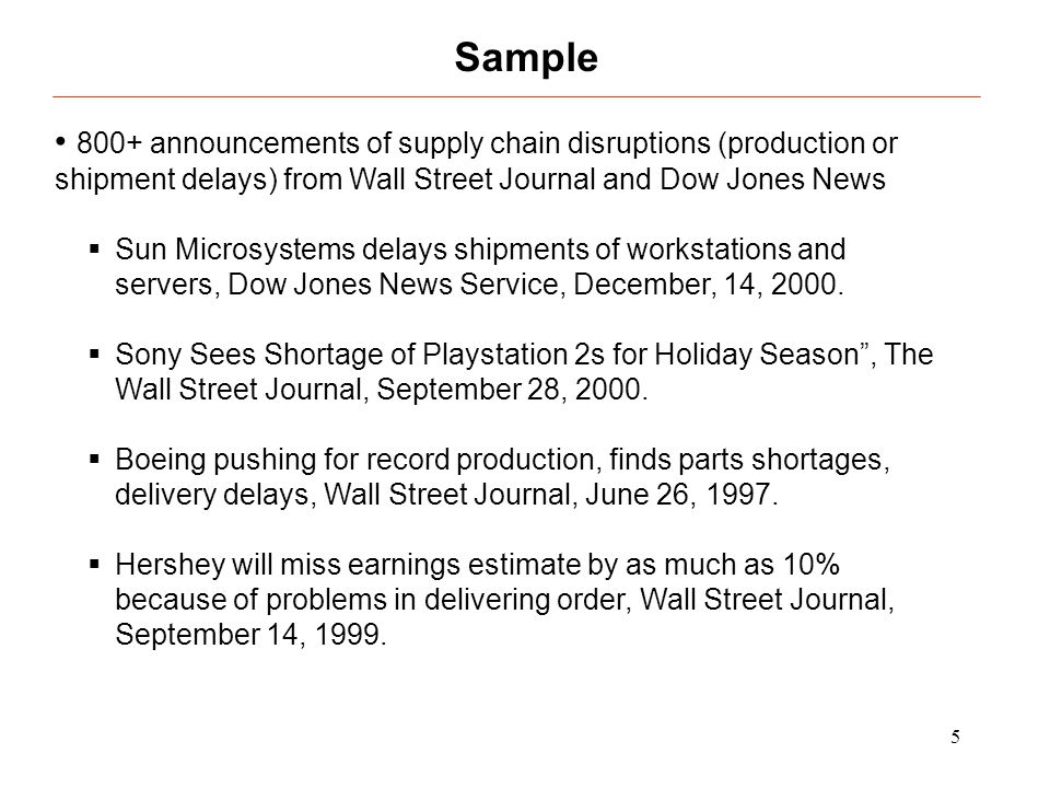 5 800+ announcements of supply chain disruptions (production or shipment delays) from Wall Street Journal and Dow Jones News Sun Microsystems delays s