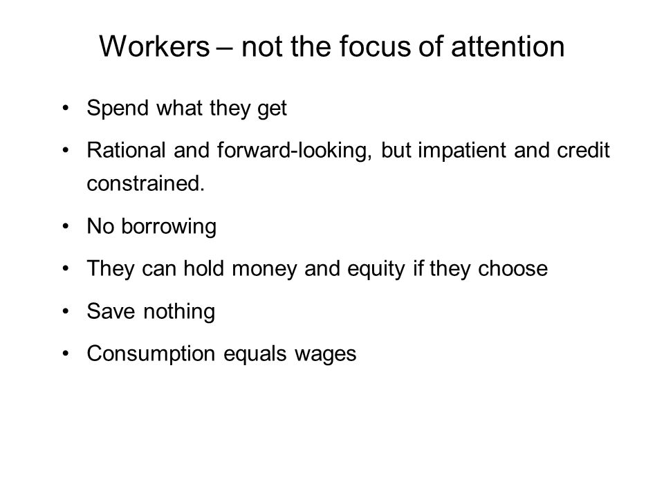 Workers – not the focus of attention Spend what they get Rational and forward-looking, but impatient and credit constrained.