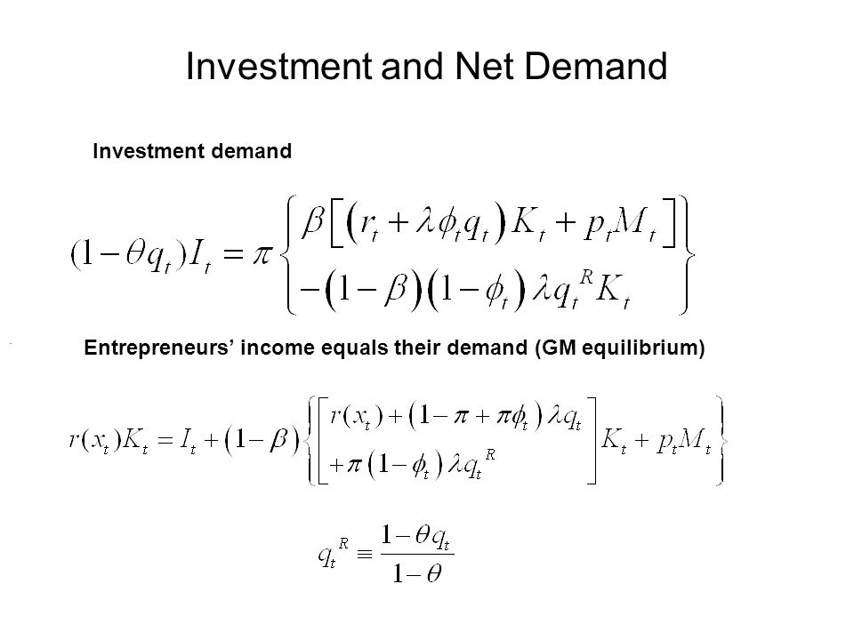 Investment and Net Demand Investment demand Entrepreneurs income equals their demand (GM equilibrium).