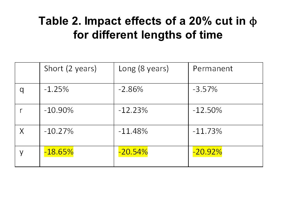 Table 2. Impact effects of a 20% cut in ϕ for different lengths of time